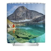 The Turquoise Lake Shower Curtain