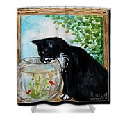 The Tuxedo Cat And The Fish Bowl Shower Curtain