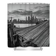 The Twisted Pier Panorama Bw Shower Curtain