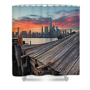 The Twisted Pier Panorama Shower Curtain
