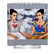 The Two Delevingnes Shower Curtain