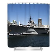 The U S S Midway Docked In San Diego Shower Curtain