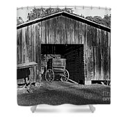 The Undertaker's Wagon Black And White 2 Shower Curtain
