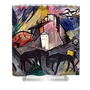 The Unfortunate Land Of Tyrol Franz Marc Painting Of Horses In A Valley Near A Cemetery  Shower Curtain