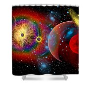 The Universe In A Perpetual State Shower Curtain by Mark Stevenson
