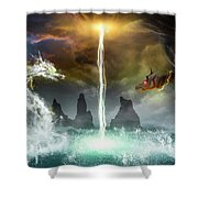 The Universe Of Dragons Shower Curtain