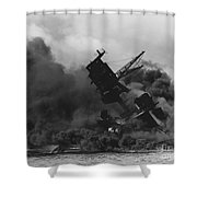 The Uss Arizona Bb-39 Burning After The Japanese Attack On Pearl Harbor Shower Curtain