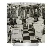 The Verandah Cafe Of The Titanic Shower Curtain by Photo Researchers