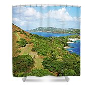 The View From Fort Rodney On Pigeon Island Gros Islet Blue Water Shower Curtain