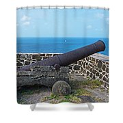 The View From Fort Rodney On Pigeon Island Gros Islet Saint Lucia Cannon Shower Curtain