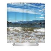 The View From Okanagan Beach Shower Curtain