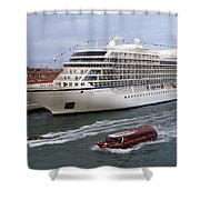 The Viking Star Cruise Liner In Venice Italy Shower Curtain