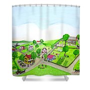 The Village - Colonial Style Art Shower Curtain