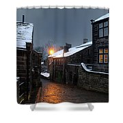 The Village Of Heptonstall In The Snow At Night With Lamps Shini Shower Curtain