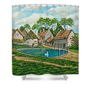 The Village Pond In Wroxton Shower Curtain