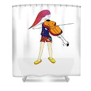 The Violin And The Girl Shower Curtain