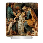 The Virgin Adorned With Flowers Shower Curtain