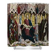 The Virgin And Child Enthroned With Angels And Saints Shower Curtain