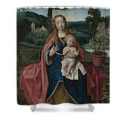 The Virgin And Child In A Landscape Shower Curtain