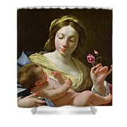 The Virgin And Child With A Rose Shower Curtain