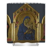 The Virgin And Child With Saints Dominic And Aurea Shower Curtain