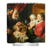 The Virgin And Child With St. John And His Parents Shower Curtain