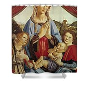 The Virgin And Child With Two Angels Shower Curtain by Andrea del Verrocchio