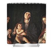 The Virgin And Child With Two Saints Prado Giovanni Bellini Shower Curtain