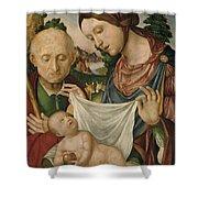 The Virgin And Saint Joseph  Adoring The Christ Child Shower Curtain