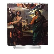 The Virgin Appearing To Saints John The Baptist And John The Evangelist 1520 Shower Curtain
