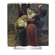 The Virgin At The Foot Of The Cross Shower Curtain