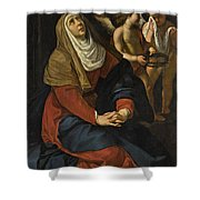 The Virgin In Prayer At The Foot Of The Cross, With Crying Angels Shower Curtain