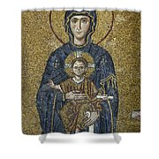 The Virgin Mary Holds The Child Christ On Her Lap Shower Curtain