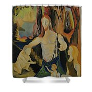 The Virgin Of The Rocks Shower Curtain