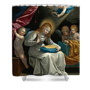 The Virgin Sewing Accompanied By Four Angels. La Couseuse Shower Curtain