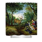 The Vision Of Saint Hubert Shower Curtain