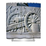 The Vittorio Emanuele Monument Marble Relief Of A Canon Standards Rome Italy Shower Curtain