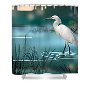 The Wading Hunter Shower Curtain