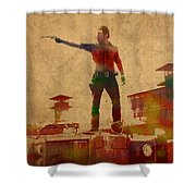 The Walking Dead Watercolor Portrait On Worn Distressed Canvas No 1 Shower Curtain