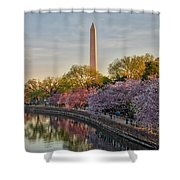 The Washington Monument And The Cherry Blossoms Shower Curtain