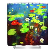 The Water Lily Pond Shower Curtain