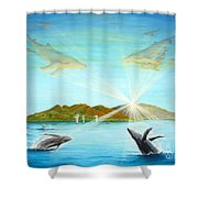 The Whales Of Maui Shower Curtain by Jerome Stumphauzer