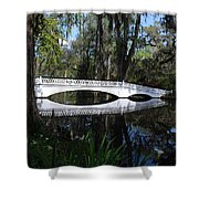 The White Bridge In Magnolia Gardens Charleston Shower Curtain