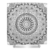 The White Mandala No. 3 Shower Curtain