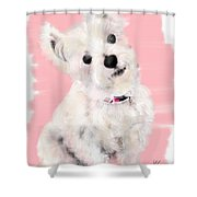 The White Pooch Shower Curtain