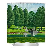The Willow Path Shower Curtain by Charlotte Blanchard