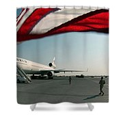 The Wind Blows The U.s. Flag Shower Curtain