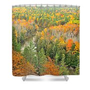 The Winding Manistee River Shower Curtain