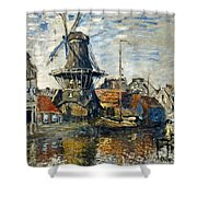 The Windmill On The Onbekende Gracht, Amsterdam 1874 Shower Curtain
