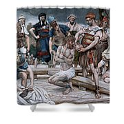 The Wine Mixed With Myrrh Shower Curtain by Tissot